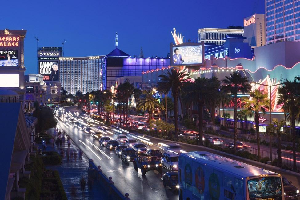 Kända paradgatan The Strip i Las Vegas